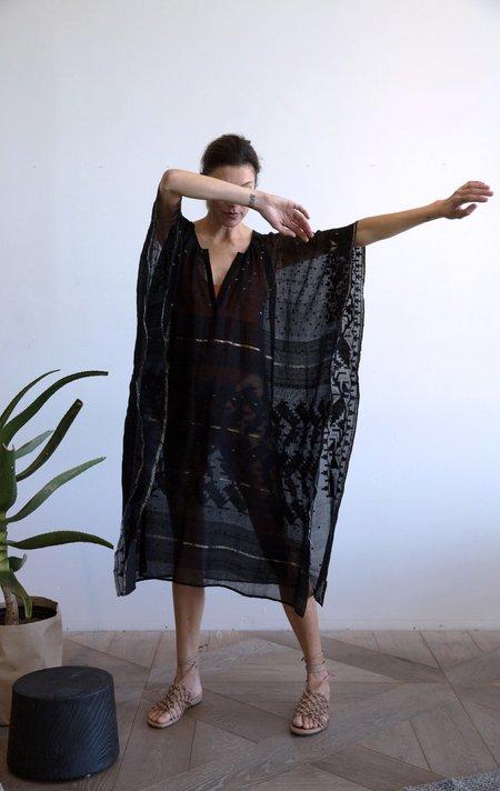 Two Handwoven Gorgeous Dhaka Caftan - Black
