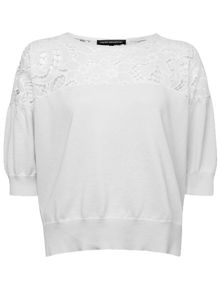 French Connection Lace Yoke Jumper in White