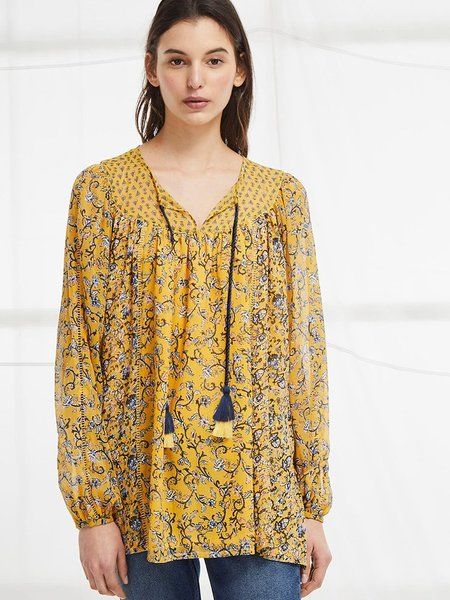 French Connection Savana Sheer Folk Top