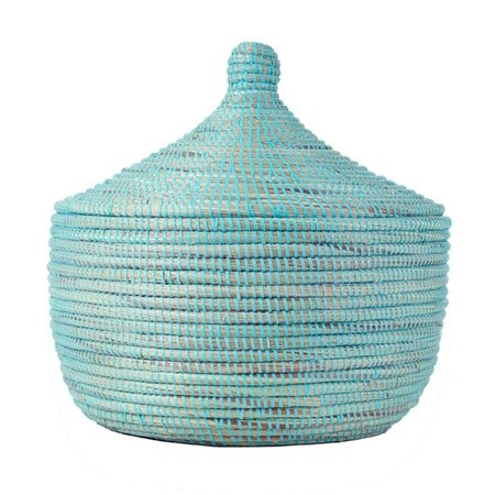 Swahili Modern Large Storage Basket - Aqua