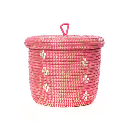 Swahili Modern White Blossom Lidded Basket Planter - Pink