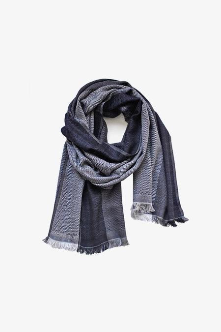 UNISEX Karigar Wool/Silk Tonal Scarf - BLUE