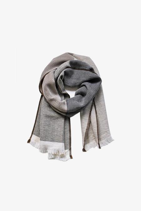 Karigar Colour Block Merino Wool Scarf - ECRU