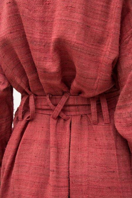 Oshadi Robe Coat Dress - Naturally Dyed Burgundy