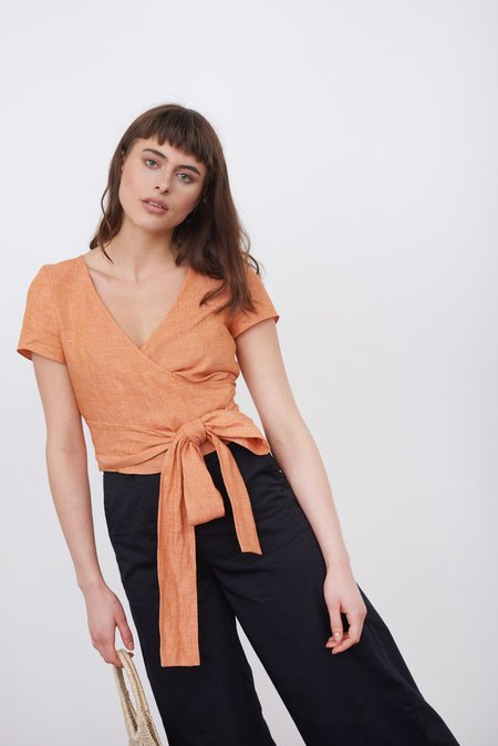 The Acey The wrap top - LIGHT ORANGE
