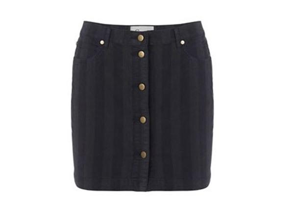 Ganni Stripe Darkest Spruce Skirt