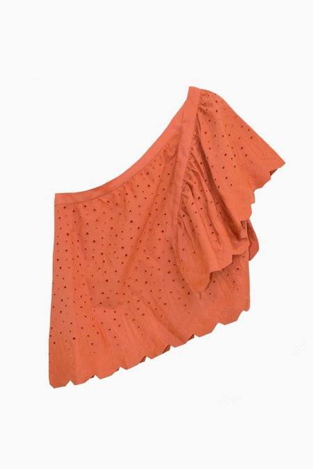 Where Mountains Meet Lily Blouse - Coral