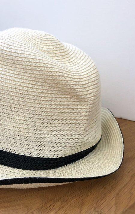 Mature Hat White with black trim Hat