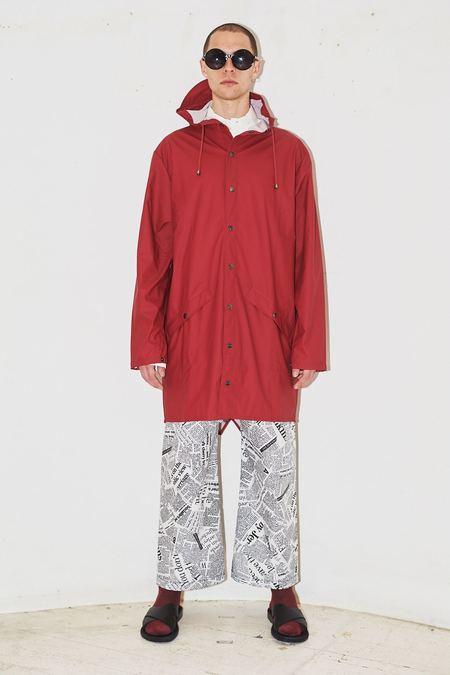 Unisex Rains Hooded Rain Long Jacket - Scarlet