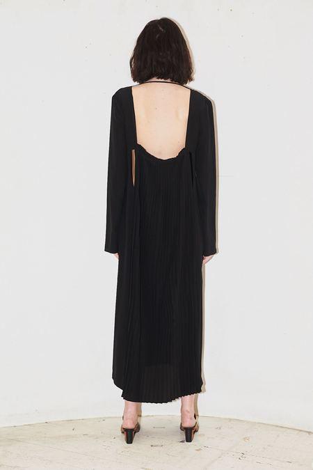 Jovana Makovic Long Sleeve Silk Dress - BLACK