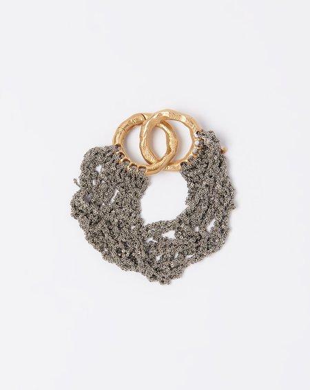 Arielle De Pinto Thick Blackwork Bracelet - Ash/Brass