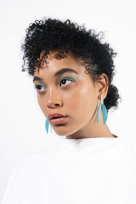 Natalie Joy Lotus Earrings - Vintage Teal