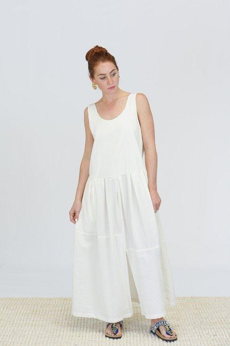Black Crane Patched Dress - Cream