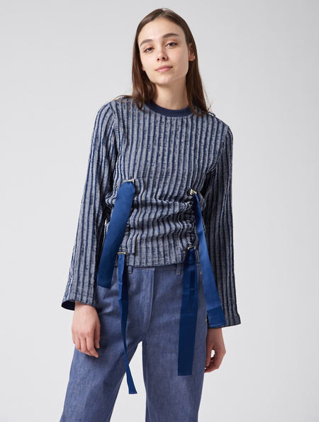 Steven Tai Double Gather Jumper - Navy With White Stripe