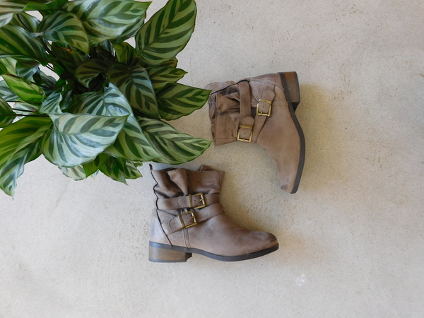 Qupid Taupe Oil Finish Suede Bootie