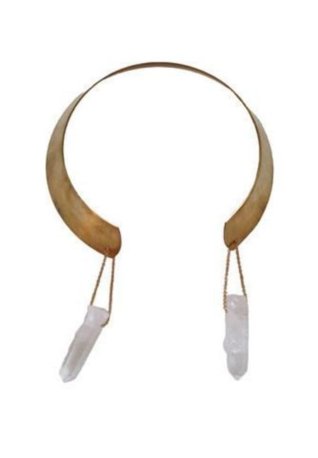 Ali Grace Crystal Collar Necklace - BRASS