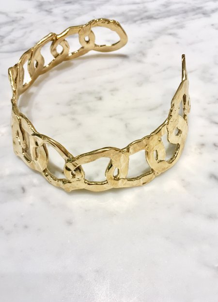 ALI GRACE Organic Sculpted Link Collar - BRASS
