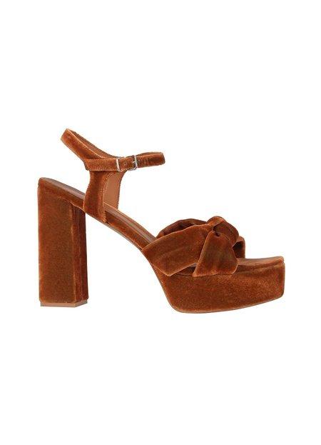 Intropia Velvet Platform Sandals - Brown