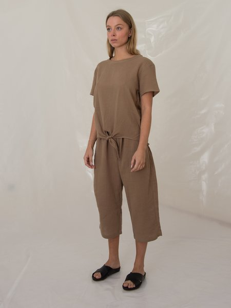 Priory Bow Pant - Cotton Gauze Taupe