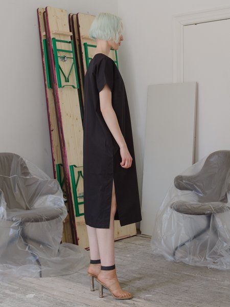 Priory Shop Poplin Tage Dress - Black