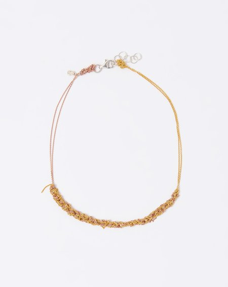 Arielle De Pinto Two Tone Clasped Skinny Necklace - Gold/Rose Gold