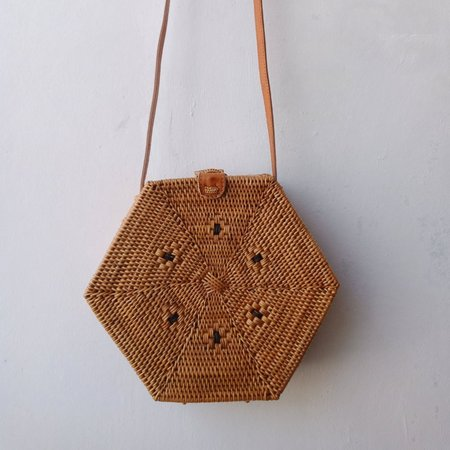 Legra Chicca Hexagon Rattan Bag - Natural