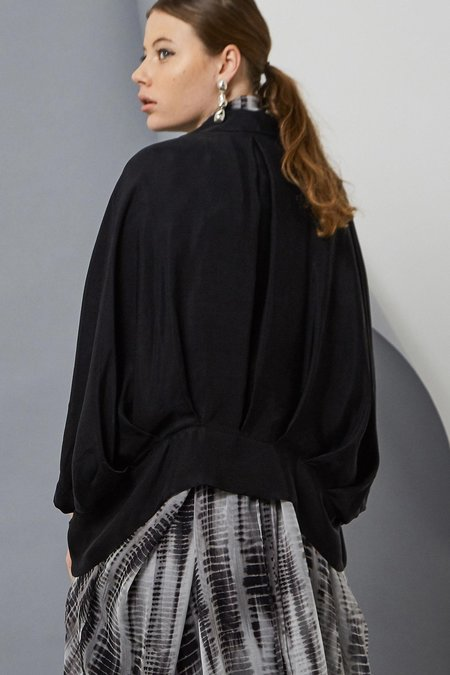 Taylor Cropt Tucked Cocoon Coat - Black