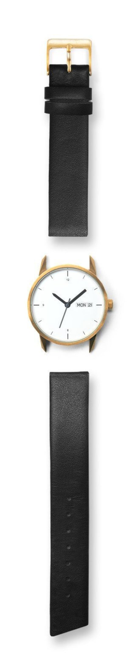 Unisex Tinker Watches 34mm Gold Watch Black Italian Leather Strap