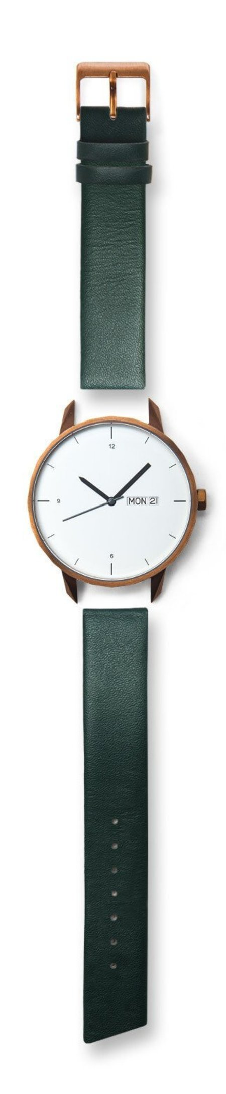 Unisex  Tinker Watches 42mm Copper Watch Green Italian Leather Strap