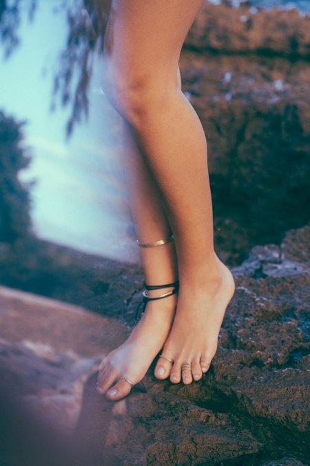 Luiny Flawed Leather Bracelet - Brass