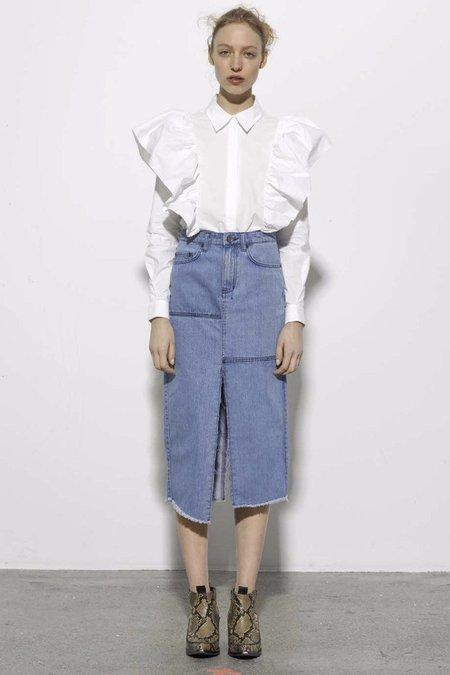Just Female Rui Ruffle Shirt - White
