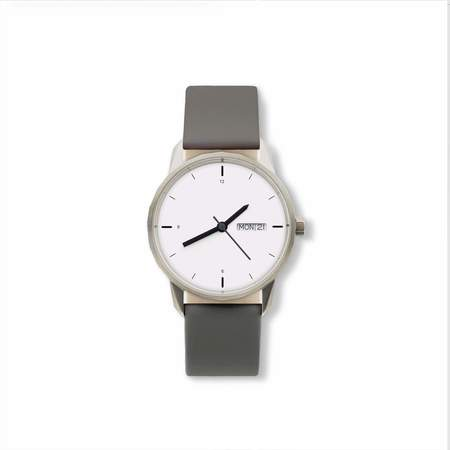 Unisex Tinker Watches 34mm Silver Watch Grey Italian Leather Strap