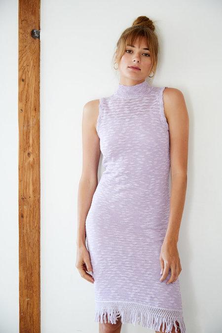 Callahan Stripe Sleeveless Turtleneck Dress - Lavender