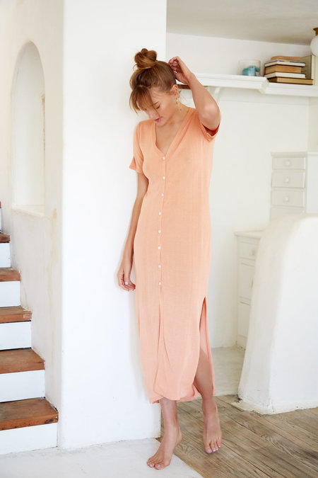 Callahan Button Up Maxi dress - Peach