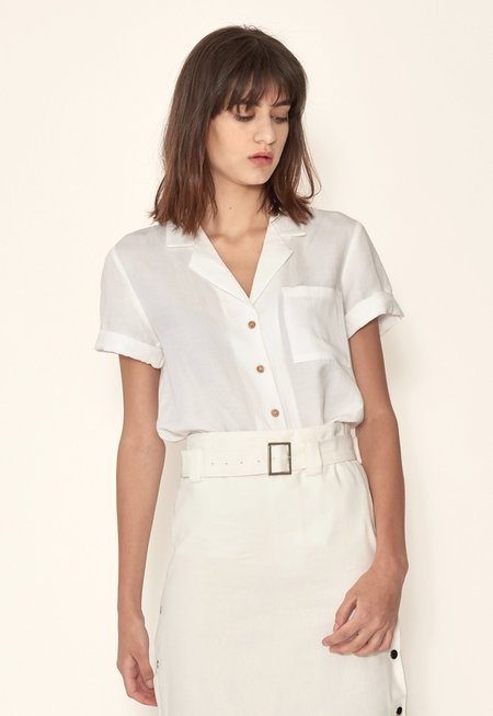 Outstanding Ordinary Belted High Waisted Skirt - White