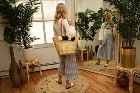 Baiae Pompom Palm Leaf Basket Tote - Cool