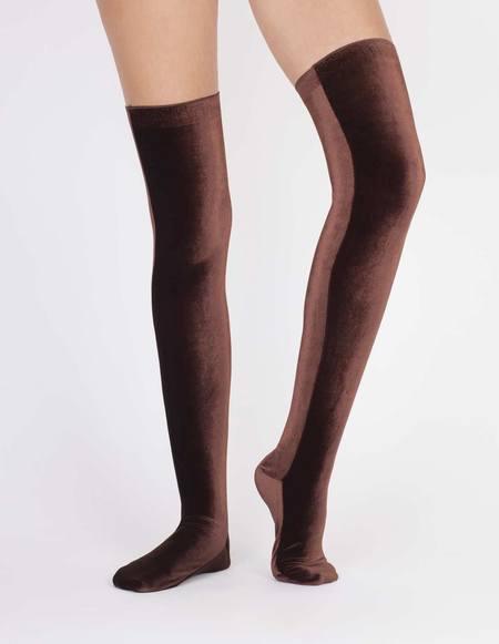 Simone Wild Overknee Velvet Socks - Nut Brown