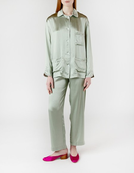Son Trava Zakhari Silk Pajamas - Green