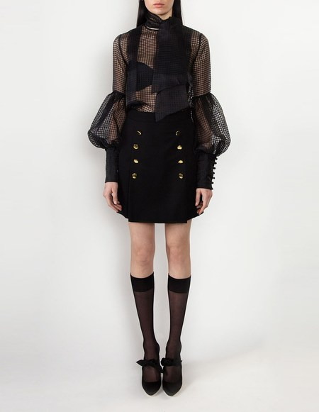 George Keburia Pussy Bow Net Blouse - Black