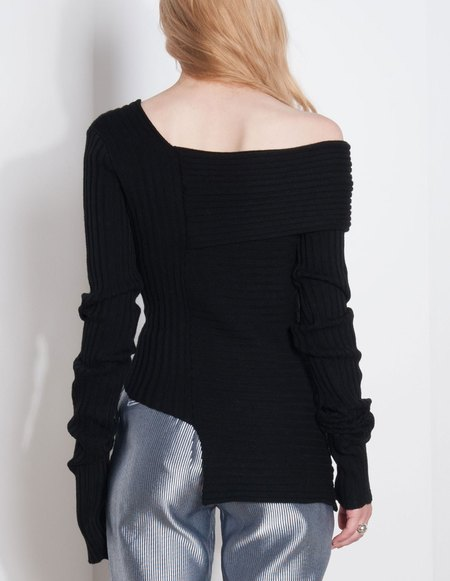 Ms Min Off-Shoulder Wool Sweater- Black