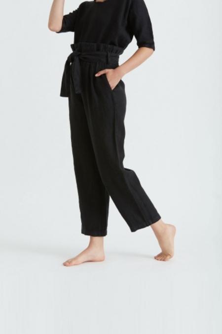Black Crane Burlap Pants - Black