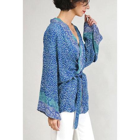 PARKER the shop Saylor Kimono - Azure/Ocean/White