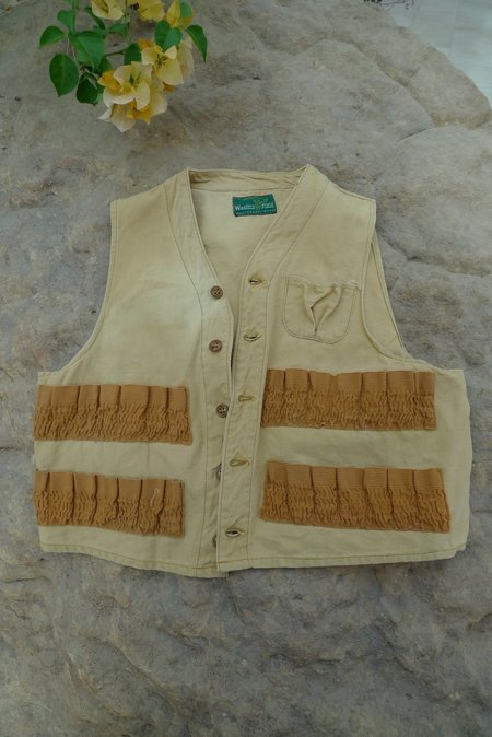 Unisex 1960's Western Field Hunting Vest - NATURAL