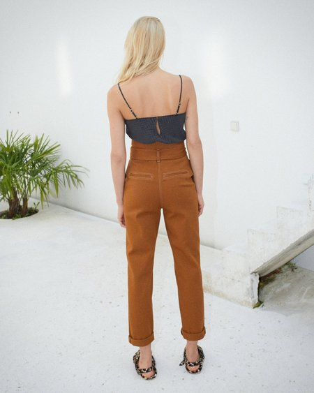 Nanushka Jude Paperbag Waist Pants - Spice Brown