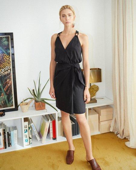 Nanushka Venus Wrap Front Mini Dress - Black