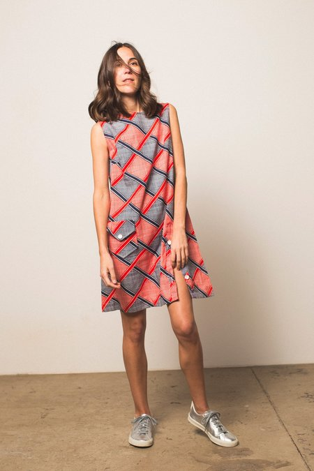 Preservation Shift Dress - Red & Navy