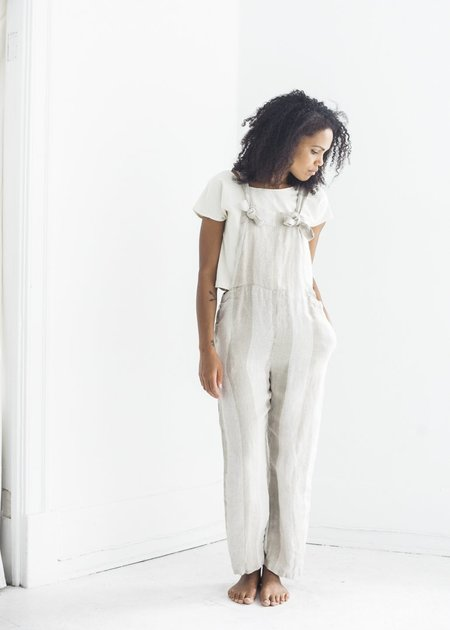 Ichi Antiquites Overalls - Striped Linen