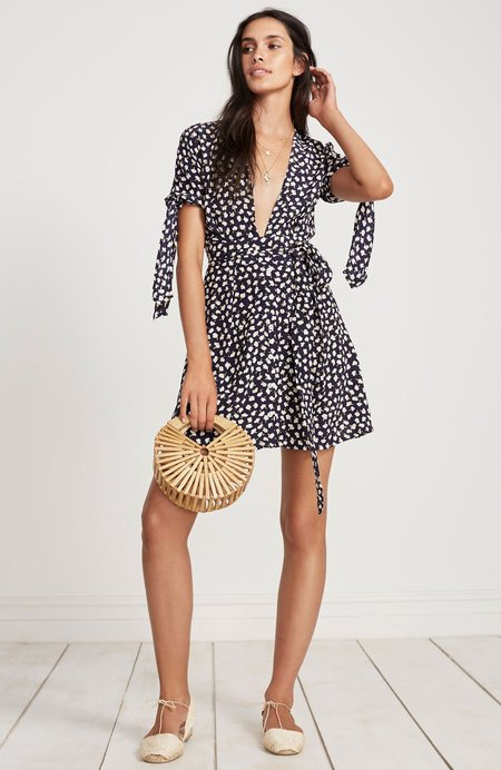 Faithfull The Brand Brigit Short Sleeve Mini Dress - navy floral