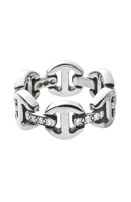 Hoorsenbuhs Brute Classic Tri-Link Ring with Diamonds - Silver