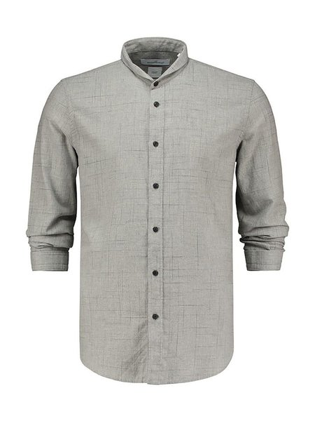 THE GOODPEOPLE Helicopter Optical Check Twill Shirt - GREY MELANGE
